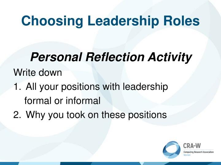 Choosing Leadership Roles