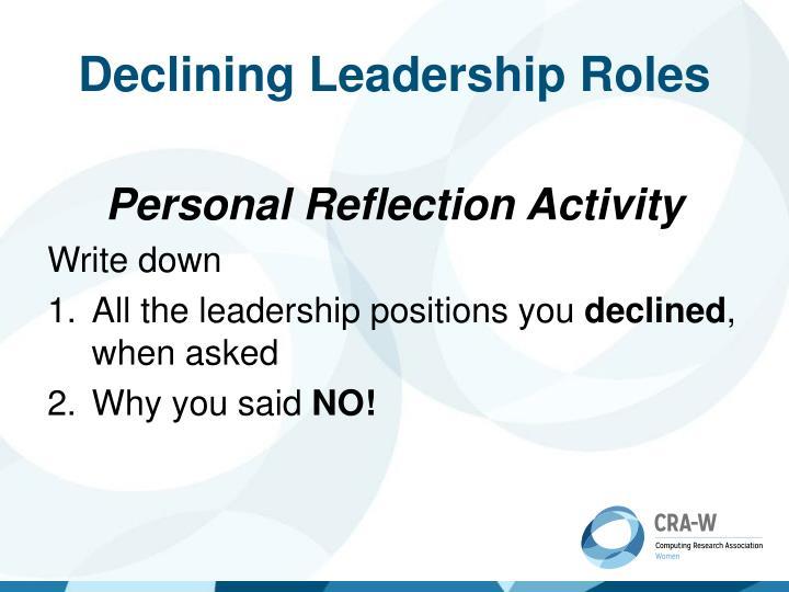 Declining Leadership Roles