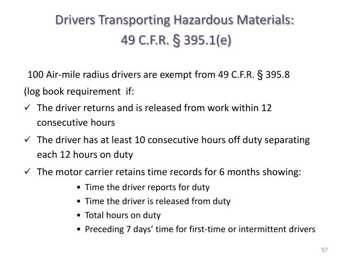 Drivers Transporting Hazardous Materials: