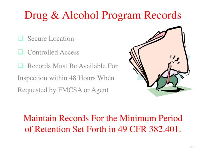 Drug & Alcohol Program Records