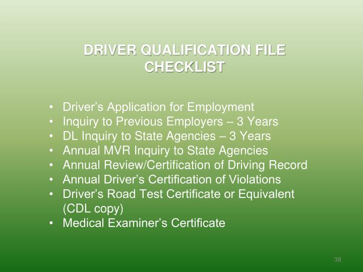 DRIVER QUALIFICATION FILE CHECKLIST