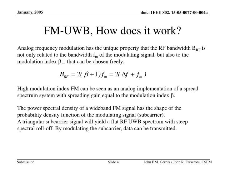 FM-UWB, How does it work?