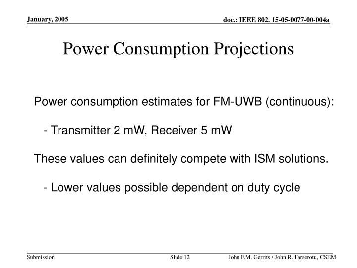Power Consumption Projections