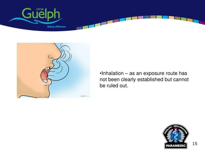 Inhalation – as an exposure route has not been clearly established but cannot be ruled out.