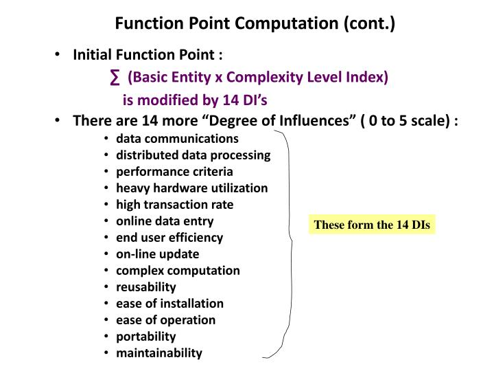 Function Point Computation (cont.)