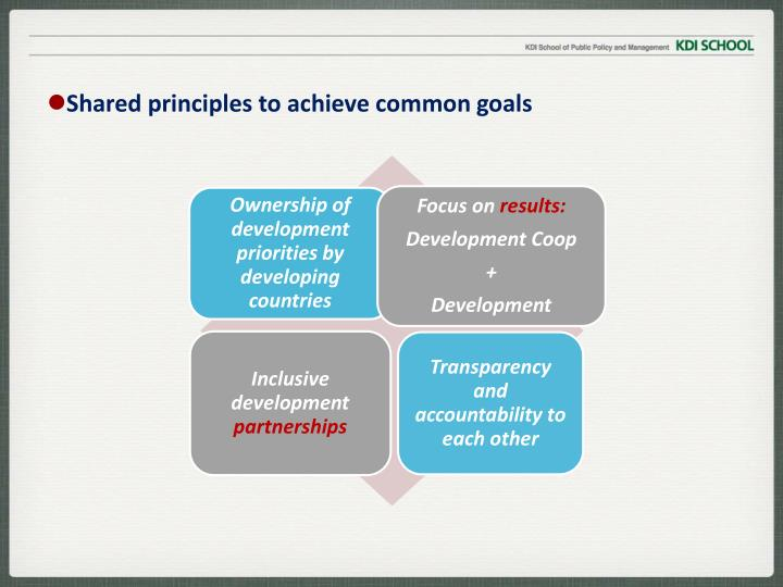 Shared principles to achieve common goals