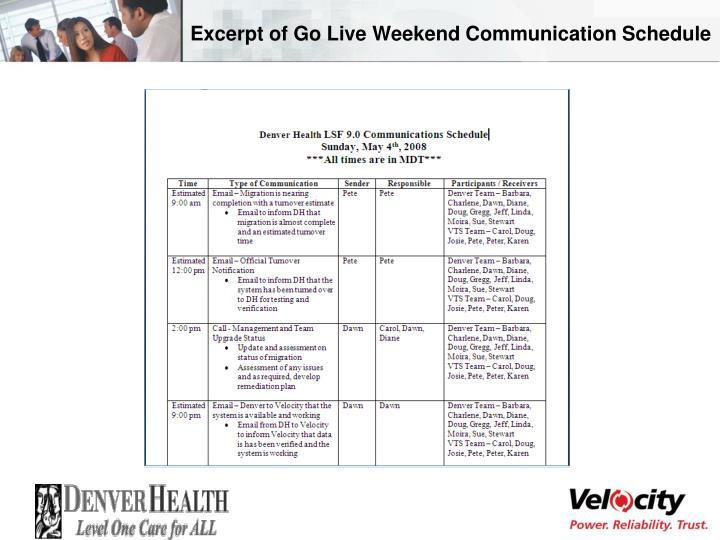 Excerpt of Go Live Weekend Communication Schedule