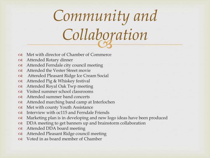 Community and collaboration