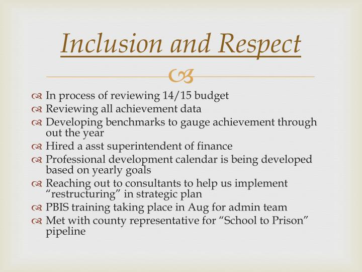 Inclusion and Respect