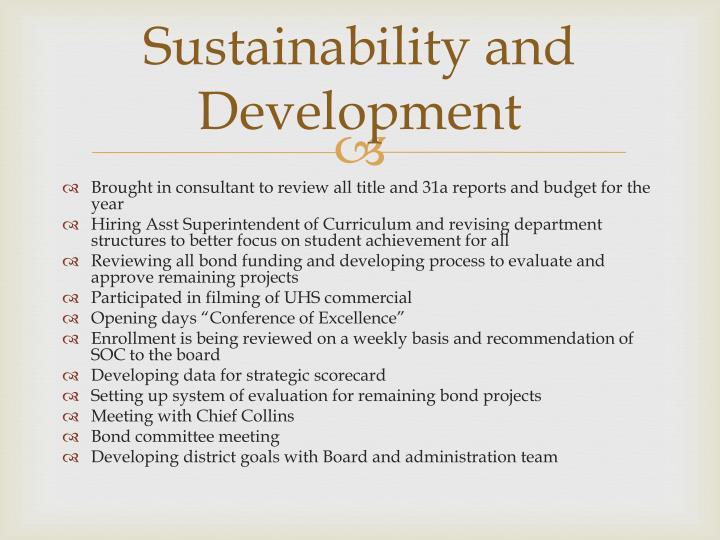 Sustainability and Development