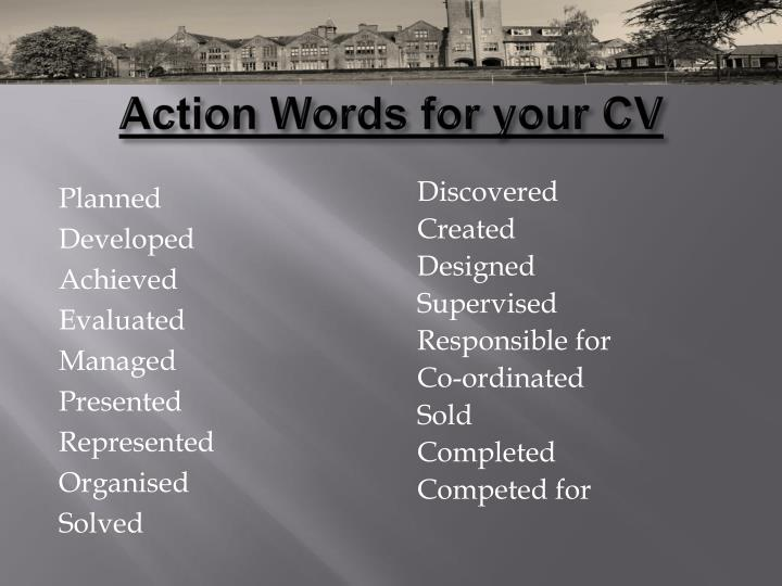 Action Words for your CV