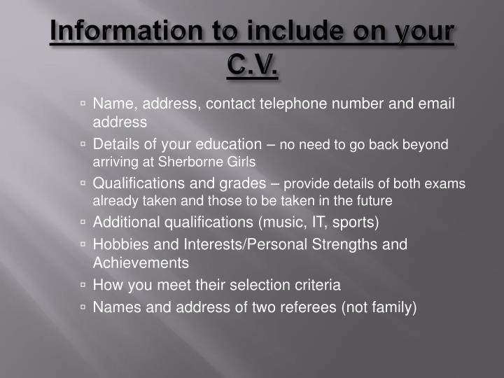 Information to include on your C.V.