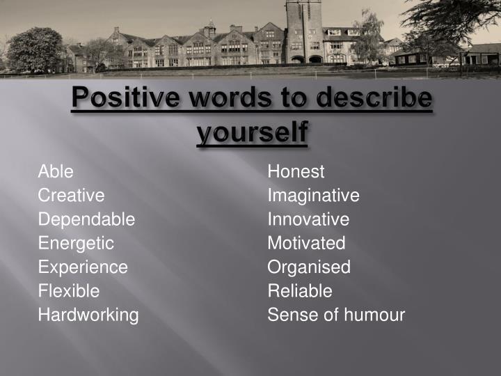 Positive words to describe yourself