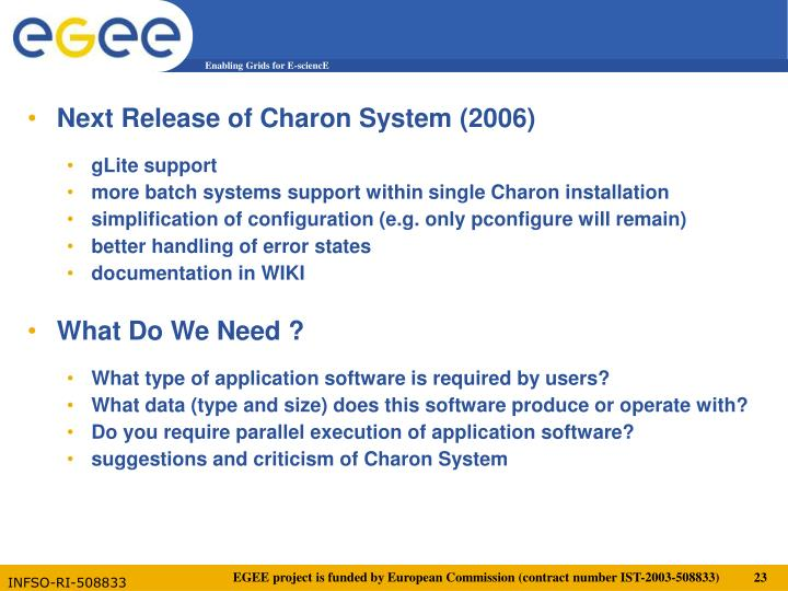 Next Release of Charon System (2006)