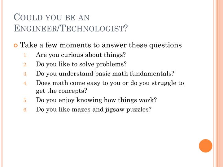 Could you be an Engineer/Technologist?