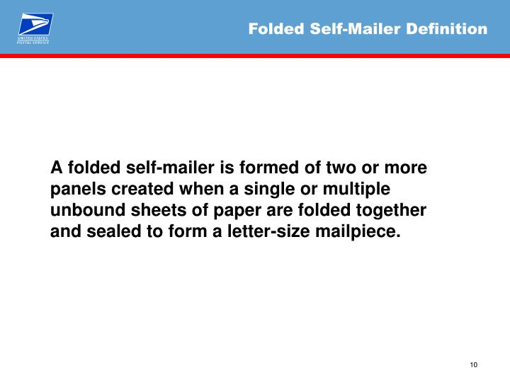 Ppt Review Of Folded Self Mailer Dmm Standards Required