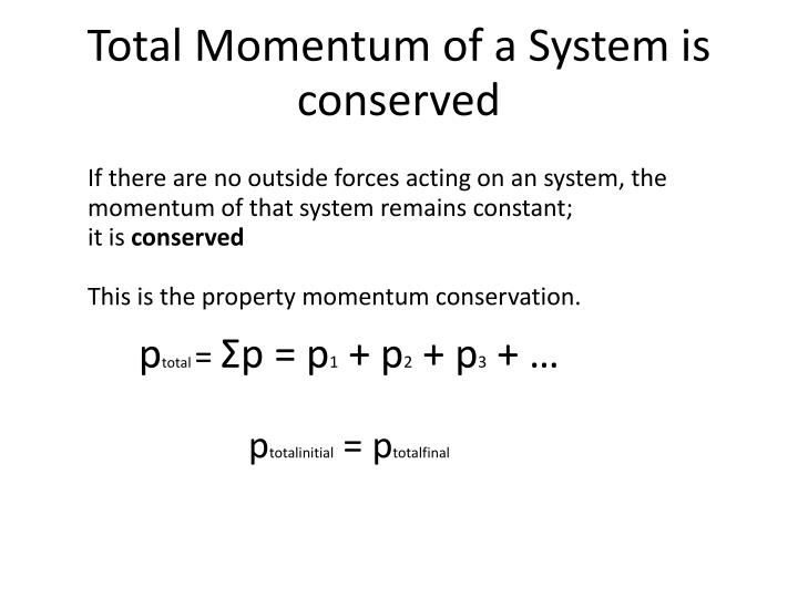 Total Momentum of a System is conserved