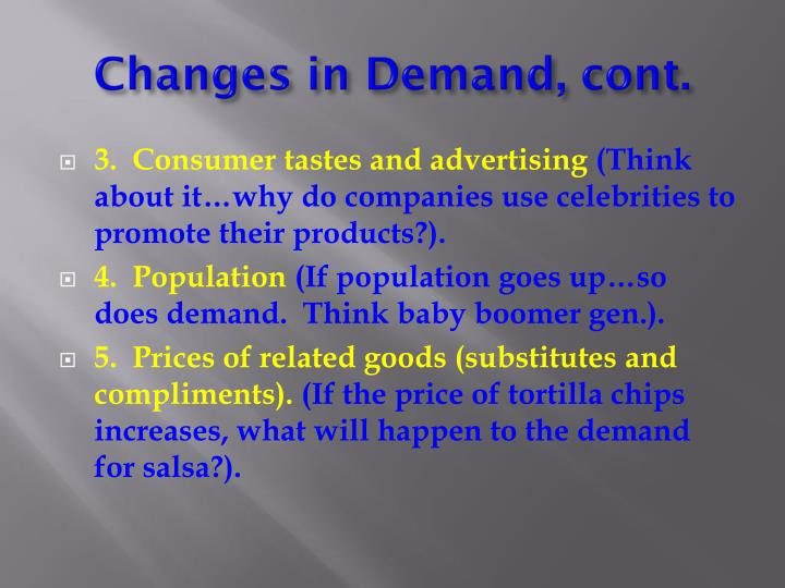 Changes in Demand, cont.