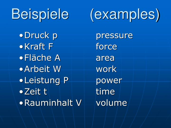 Beispiele examples
