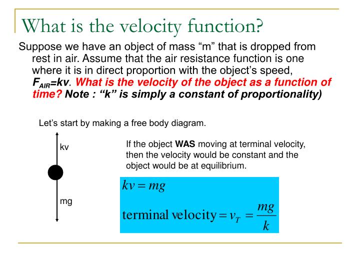What is the velocity function