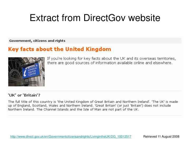 Extract from DirectGov website