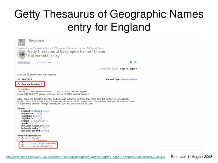Getty Thesaurus of Geographic Names entry for England
