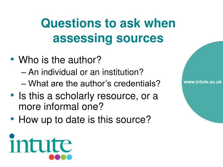 Questions to ask when assessing sources