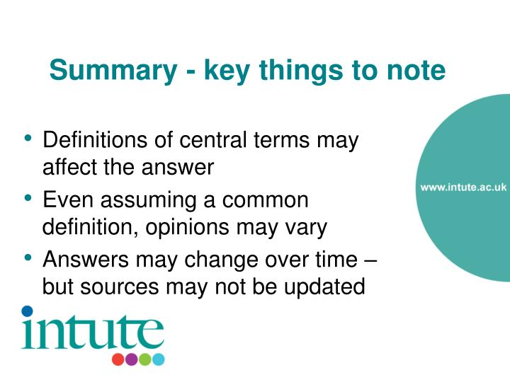Summary - key things to note