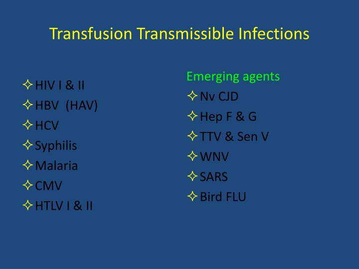 Transfusion Transmissible Infections