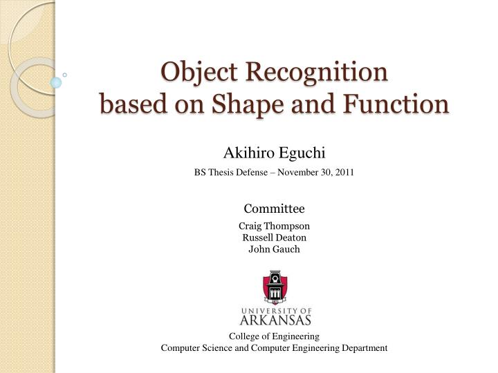 object recognition based on shape and function