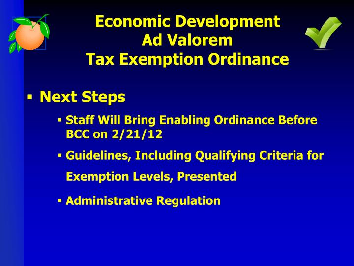 Economic development ad valorem tax exemption ordinance1