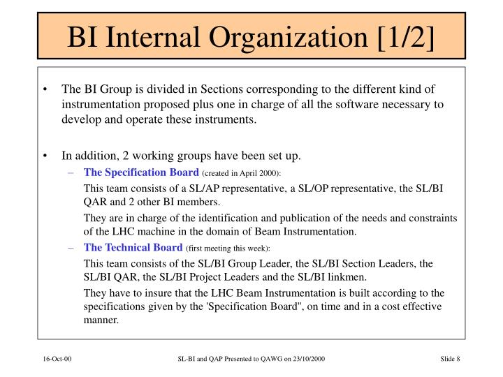 BI Internal Organization [1/2]