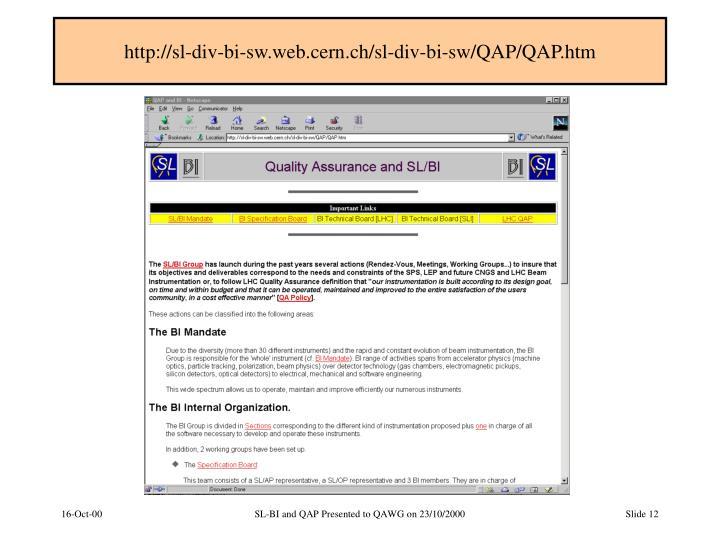 http://sl-div-bi-sw.web.cern.ch/sl-div-bi-sw/QAP/QAP.htm
