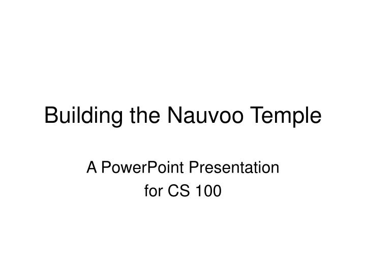 building the nauvoo temple n.