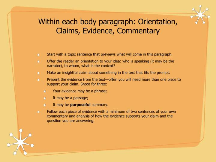Within each body paragraph: Orientation, Claims, Evidence, Commentary