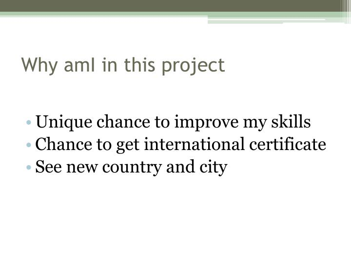 Why ami in this project