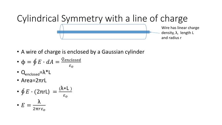 Cylindrical Symmetry with a line of charge