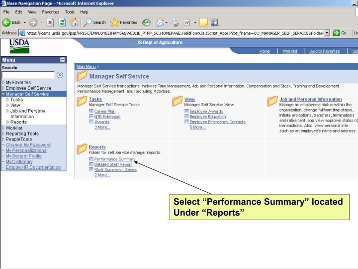 "Select ""Performance Summary"" located"