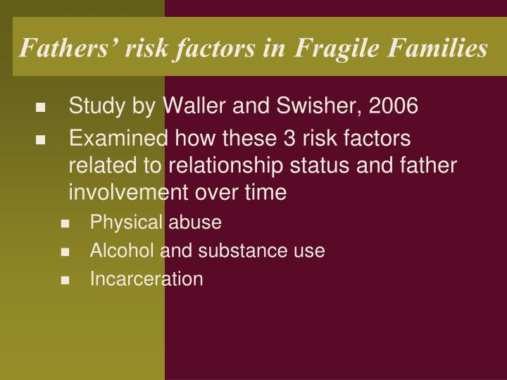 Fathers' risk factors in Fragile Families