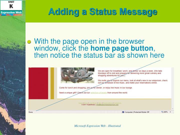 Adding a Status Message