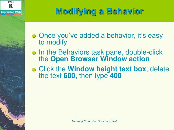 Modifying a Behavior