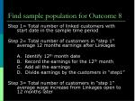 find sample population for outcome 8