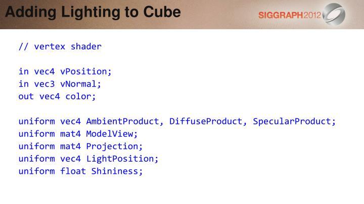 Adding Lighting to Cube