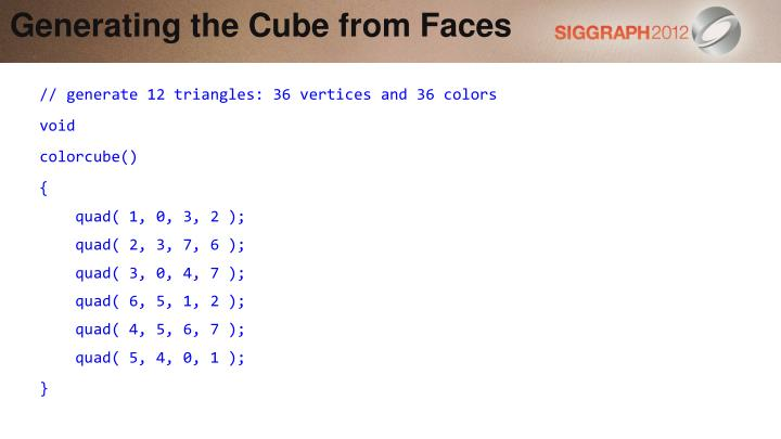 Generating the Cube from Faces