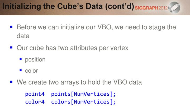 Initializing the Cube's Data (cont'd)