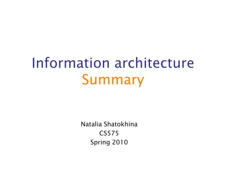 information architecture summary n.
