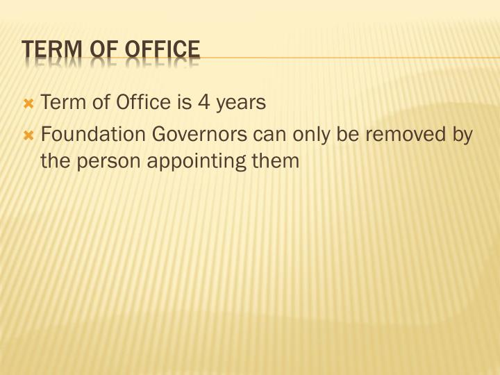 Term of Office is 4 years
