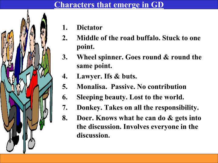 Characters that emerge in GD