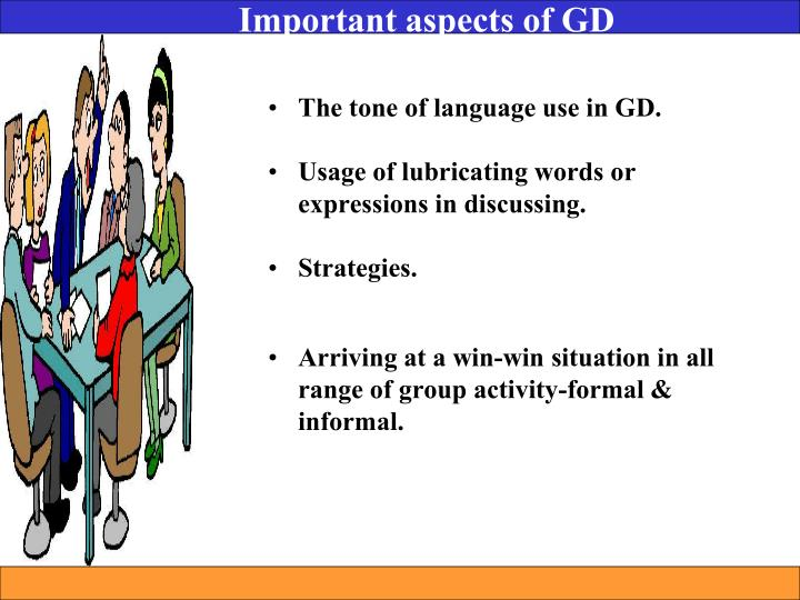 Important aspects of GD