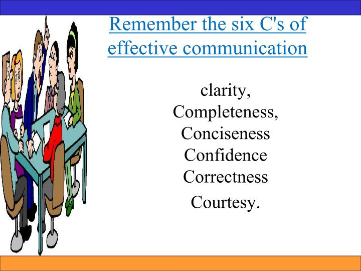 Remember the six C's of effective communication